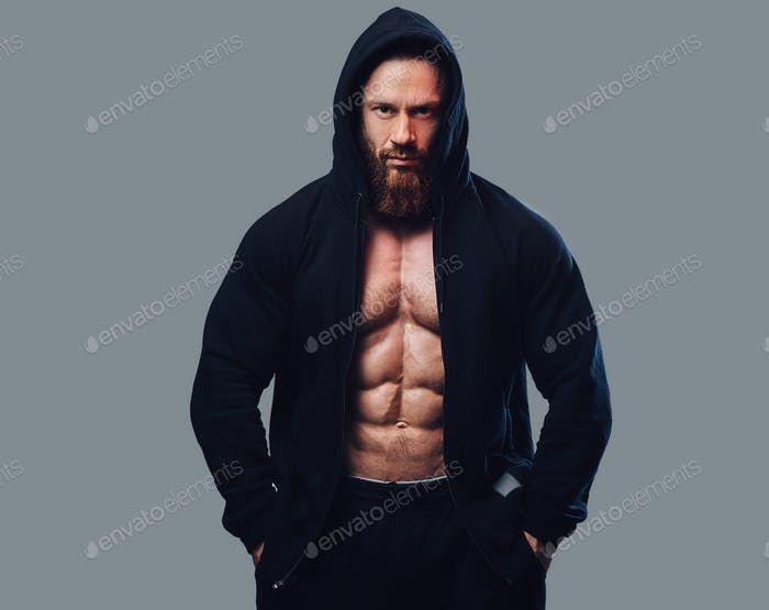 Thumbnail for Bodybuilder in a black jacket with a hood.