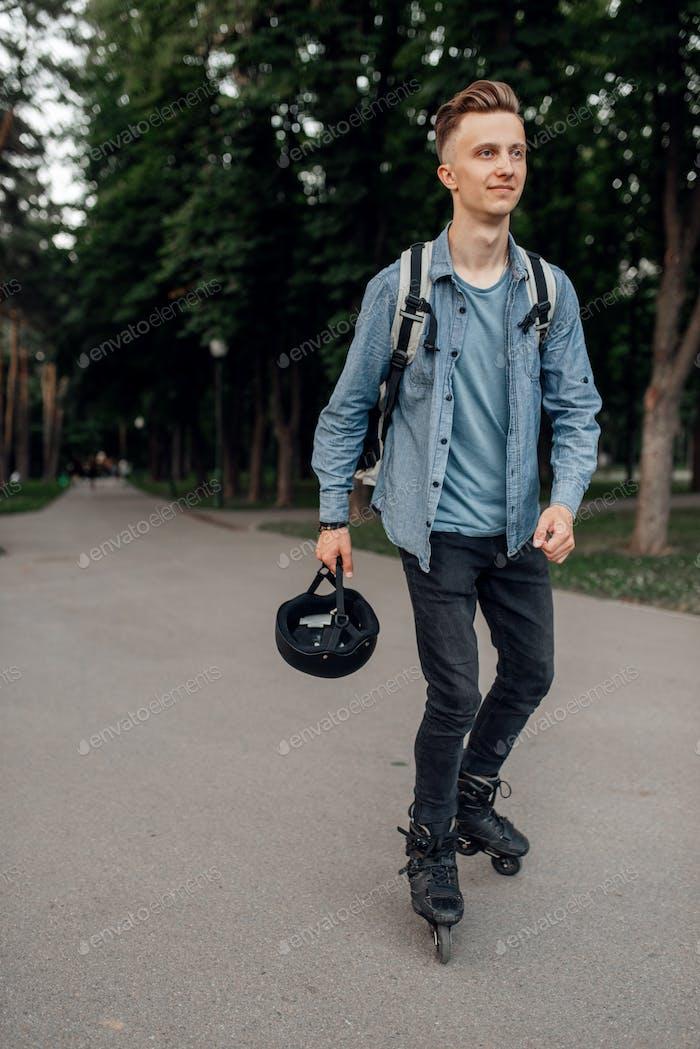 Roller skating, skater in protective equipment