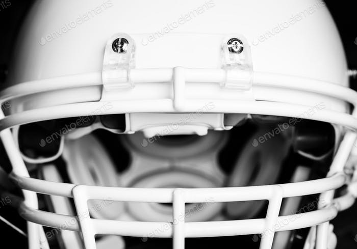 Closeup of American football helmet