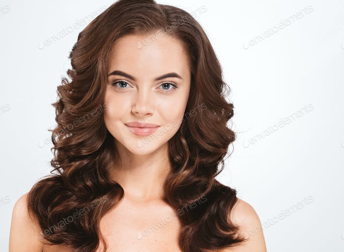 Hair woman beautiful curly hairstyle natural make up female