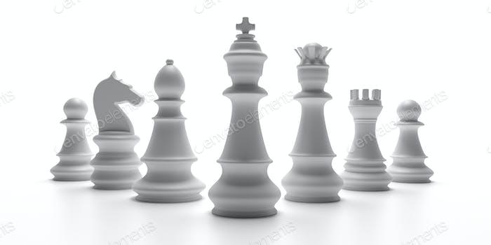 Basic chess set isolated on white background. 3d illustration