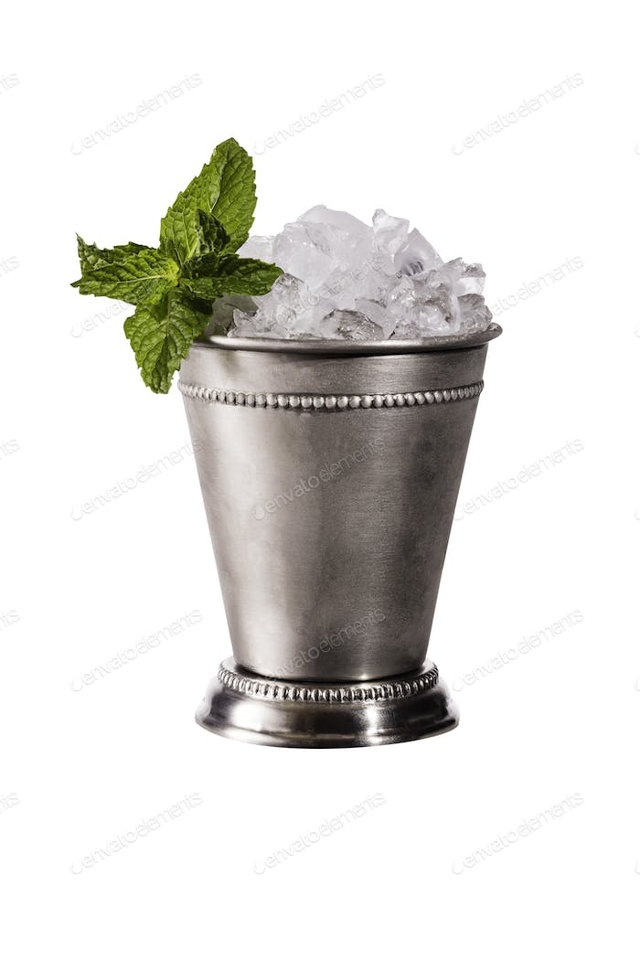 Refreshing Bourbon Mint Julep Cocktail on White