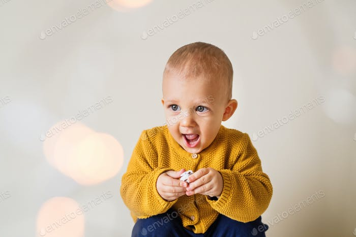 A portrait of a cute toddler boy.
