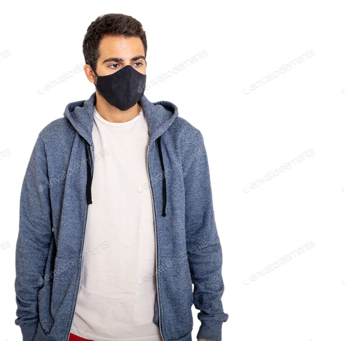 Man with coronavirus protective face mask