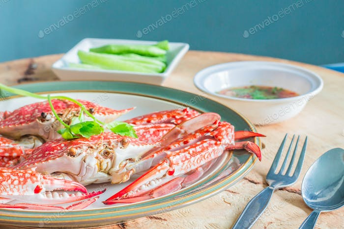 Steamed crab dish on table