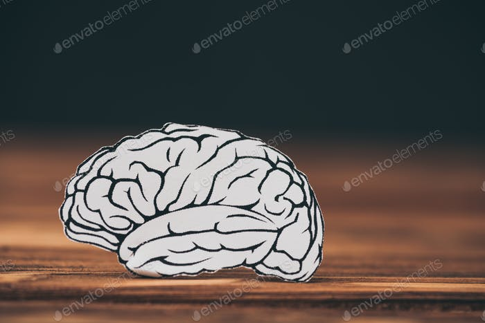 close up of paper with brain shape as dementia symbol