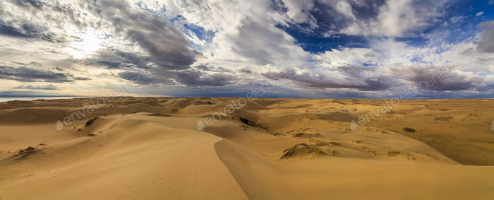 View of the Gobi desert and the beautiful sky. Mongolia