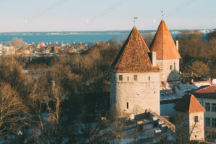 Tallinn, Estonia. Part Of Tallinn City Wall. Nun's Tower Nunnato