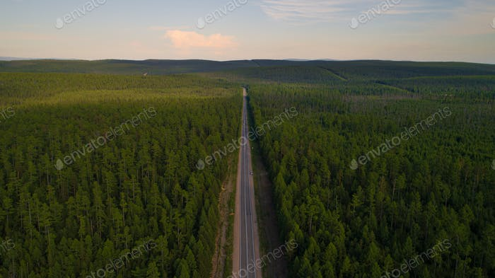 Aerial view of the road of Lake Baikal