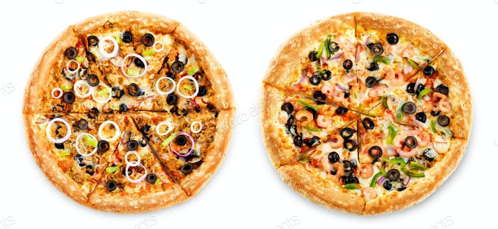 Set of pizzas: pizza with tuna and shrimp