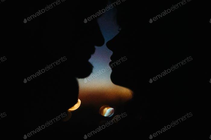 silhouette of happy couple