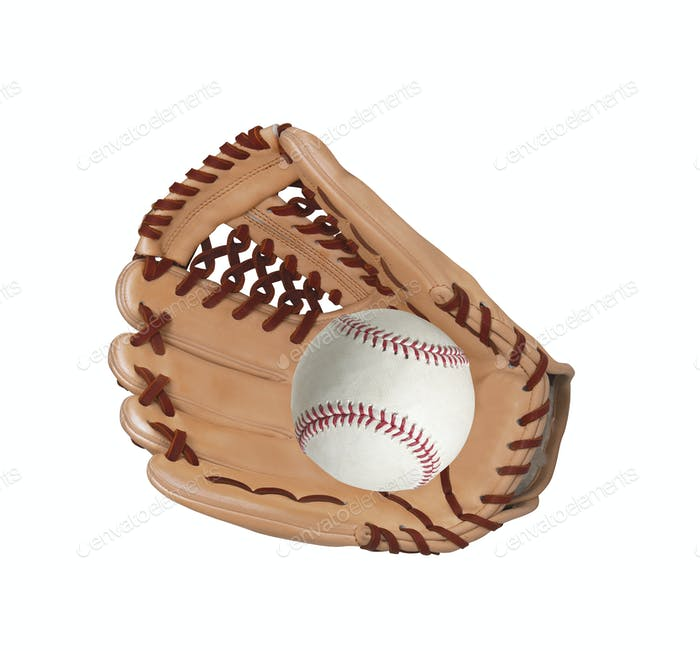 baseball inside glove isolated on white background