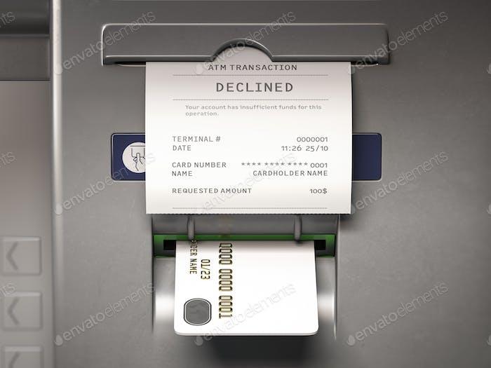 Geldautomat und Quittung mit Text lehnten wegen unzureichender Mittel auf Rechnung ab.