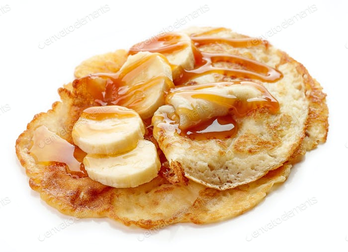 Crepes with banana and caramel sauce
