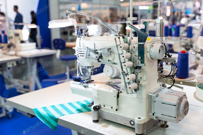 Overlock machine, nobody, clothing sew on fabric