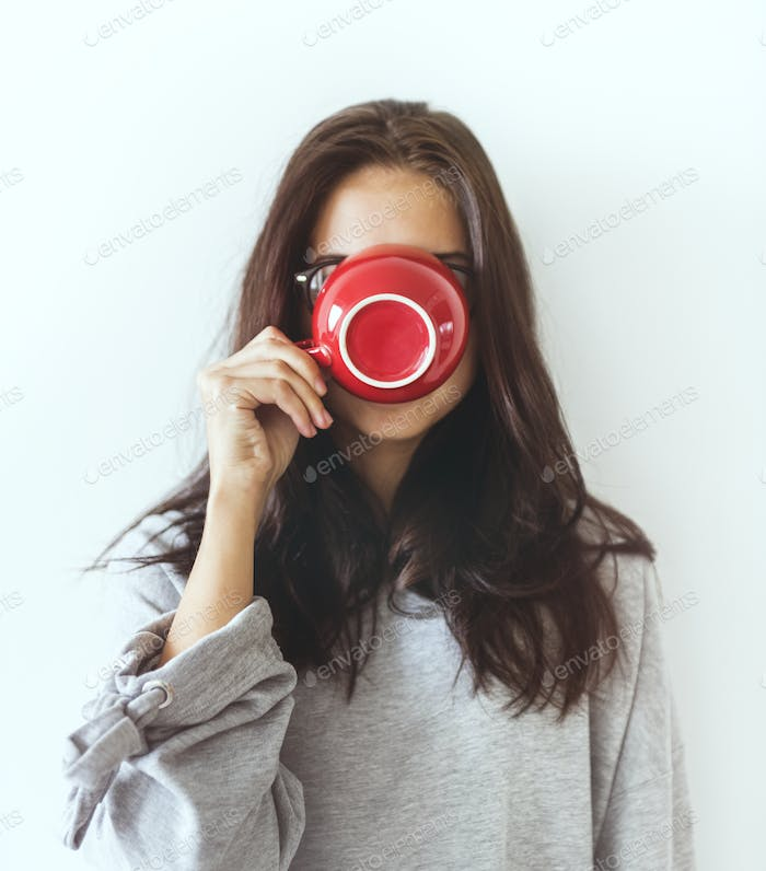 Woman enjoying her morning coffee