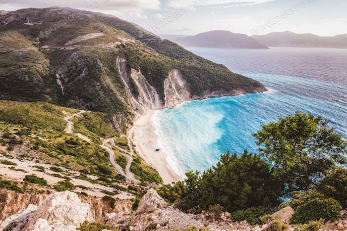 Kefalonia, Ionian islands, Greece. Famous Myrtos beach with rolling waves in spring season
