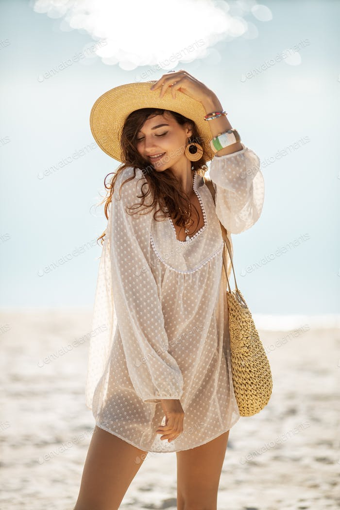 Woman Resting on the Beach During Vacation