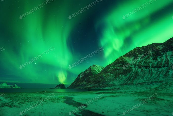 Winter landscape with northen lights in Norway