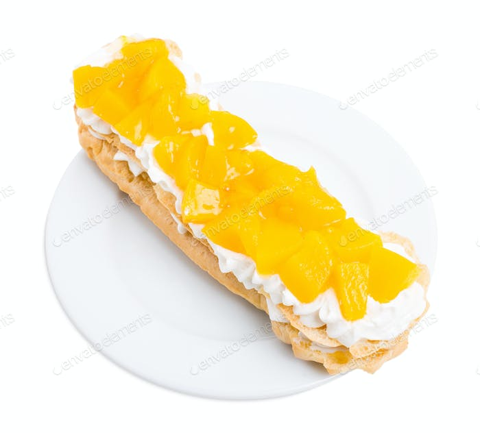 Classic eclair filled with custard.