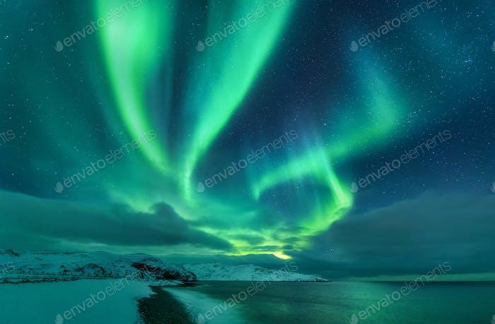 Aurora borealis über dem Meer. Nordlichter