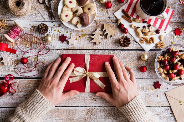 Christmas composition on a wooden background.