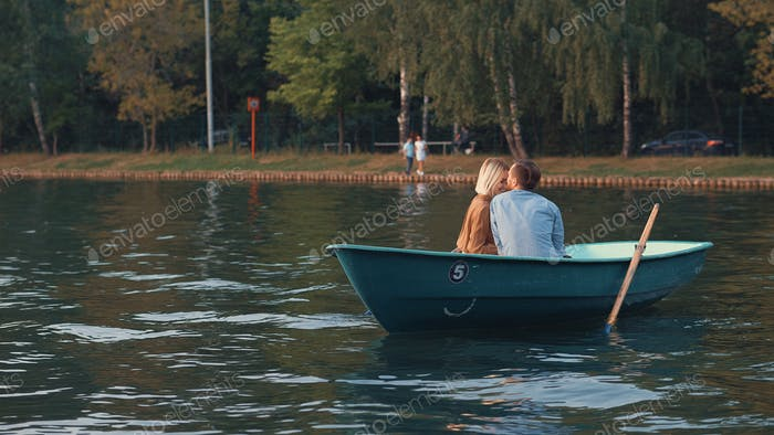 Romantic couple in a boat