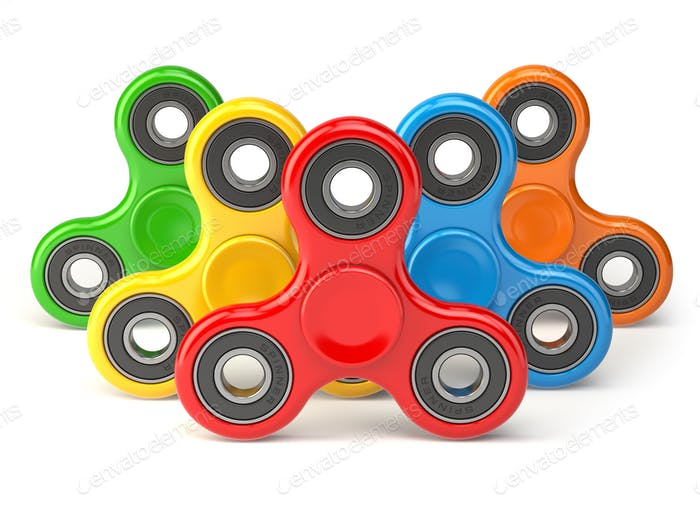 Group of fidget finger spinner stress, anxiety relief toy isolat