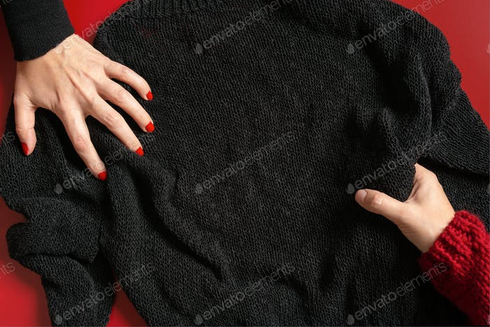 Black Friday Background with Female Hands