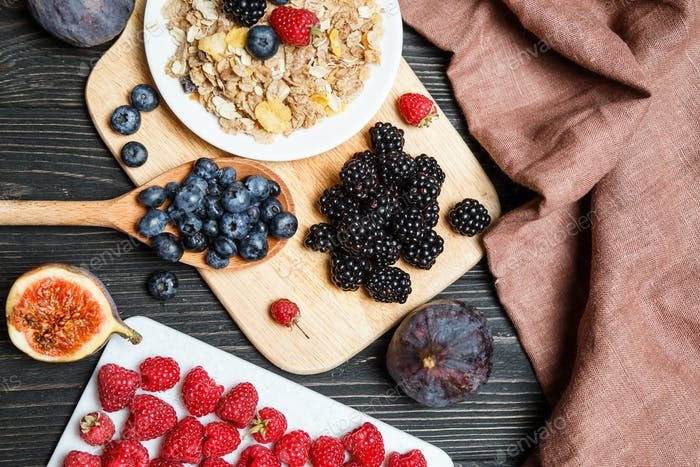 Healthy breakfast with muesli and berries. Top view, flat lay