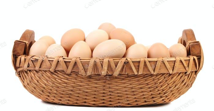 Eggs in the wicker brown basket