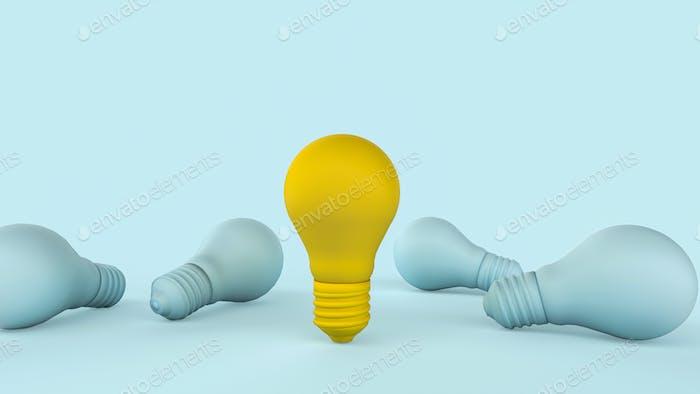 Concepto de inspiración de creatividad de idea mínima.