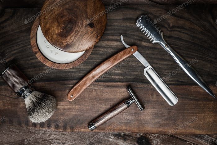 Thumbnail for Shaving accessories on a luxury wooden background