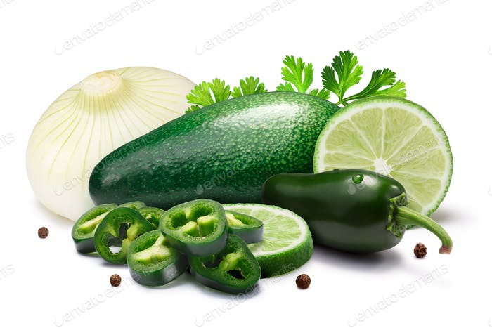Ingredients for Guacamole sauce, paths