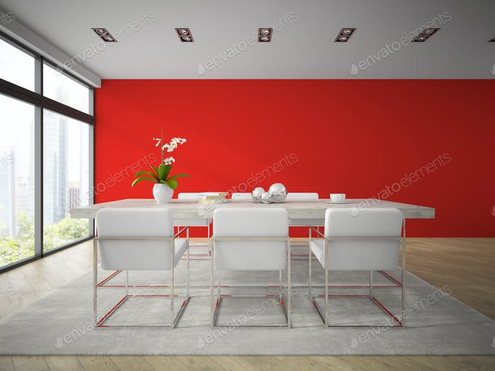 Interior of modern dining room with red wall 3D rendering