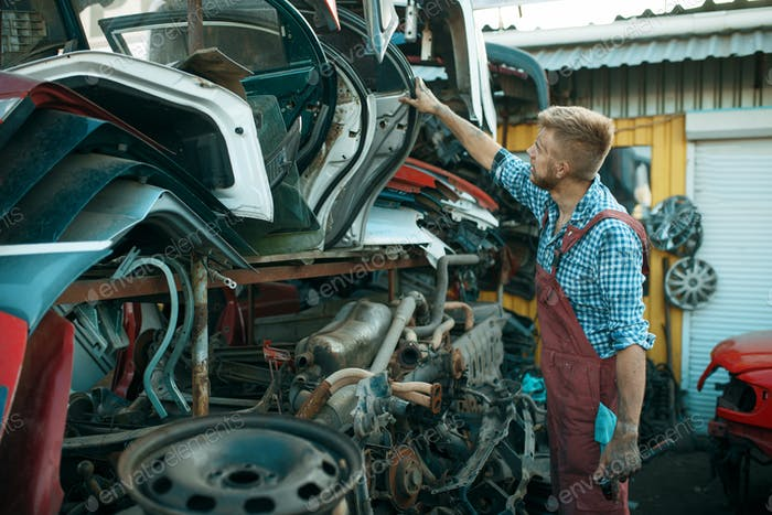 Male mechanic choosing door on car junkyard
