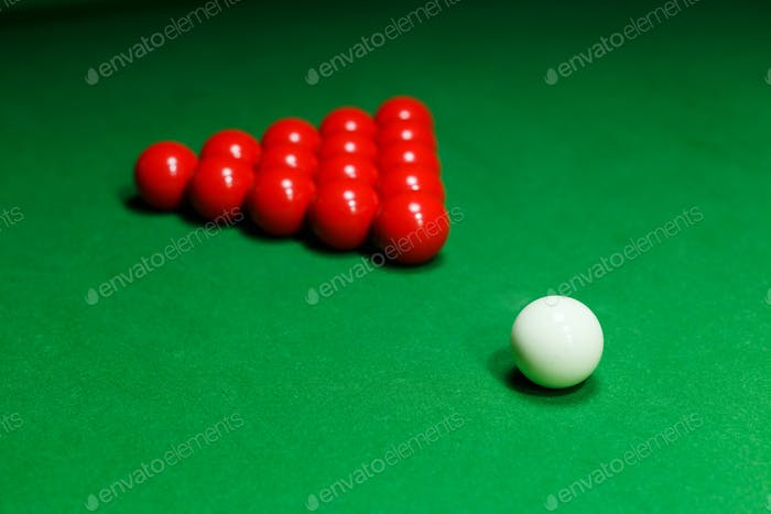 Snooker ball on a billiard table