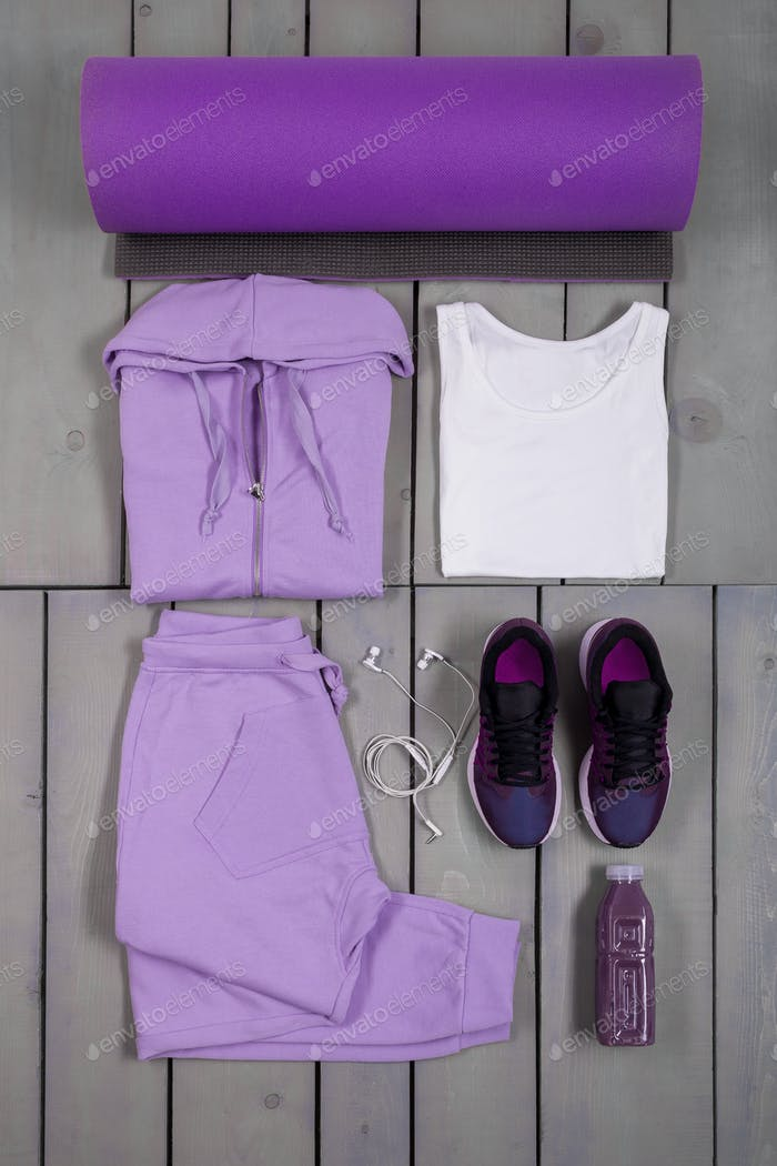 Overhead view woman's workout outfit. Female sports