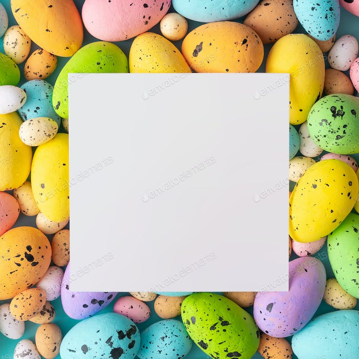 Easter composition made with colorful eggs. Creative holiday concept. Flat lay.