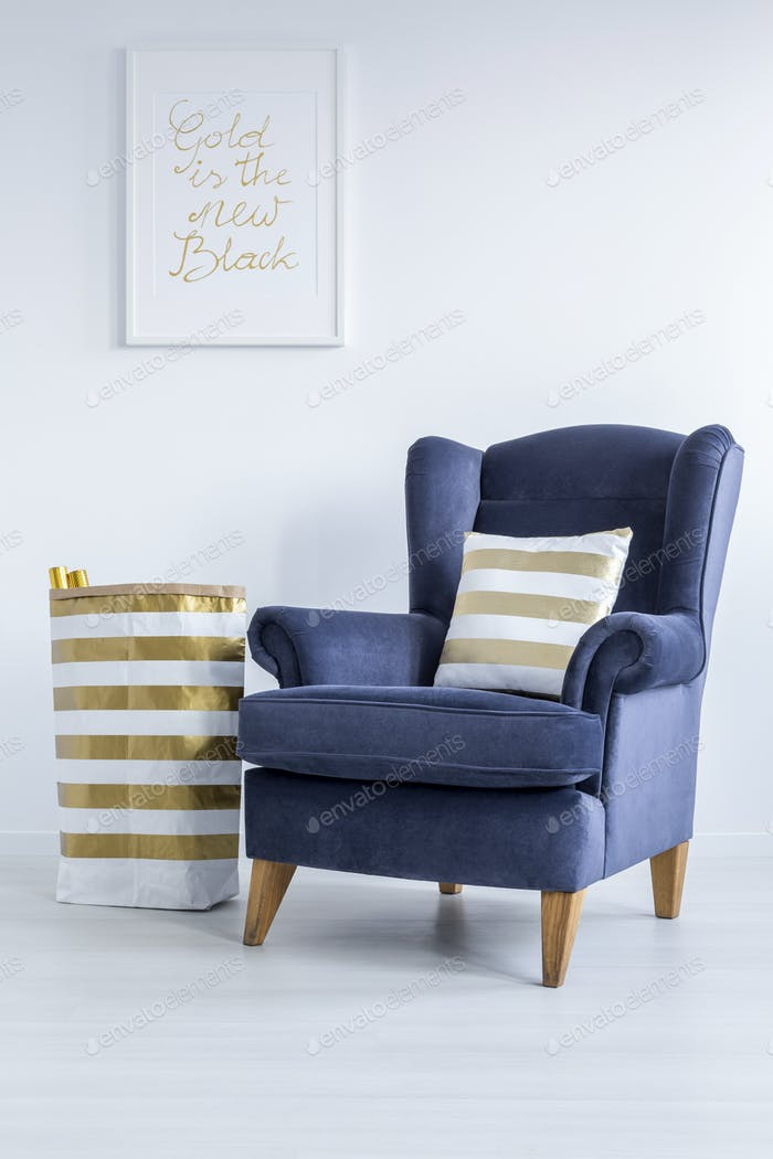 White room with gold details