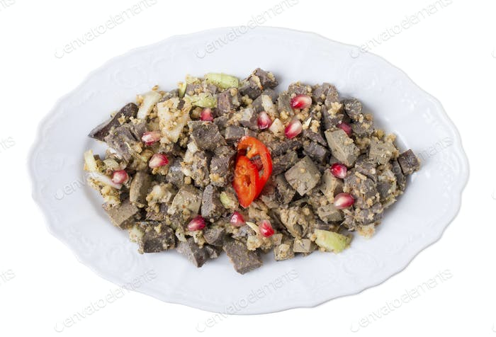 Delicious spiced beef liver with walnuts.