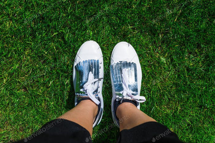 Yound Woman in White Sneakers, Top View