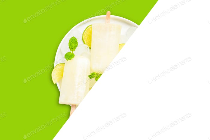 Lime and lemon popsicles, recipe template isolated