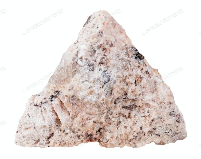 Granit Mineralstein isoliert auf weiß