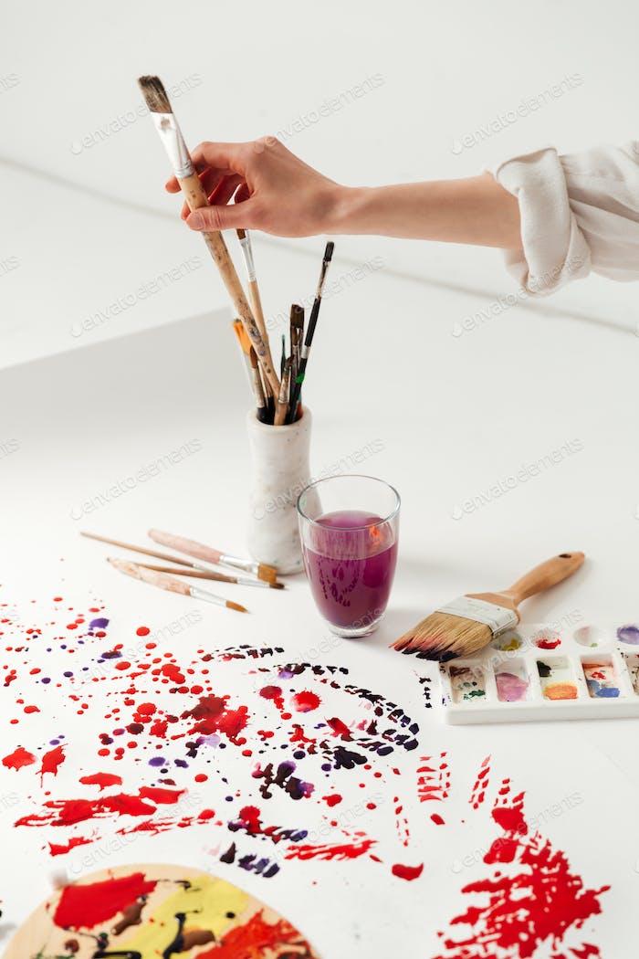 Painting ecquipment over white white background.