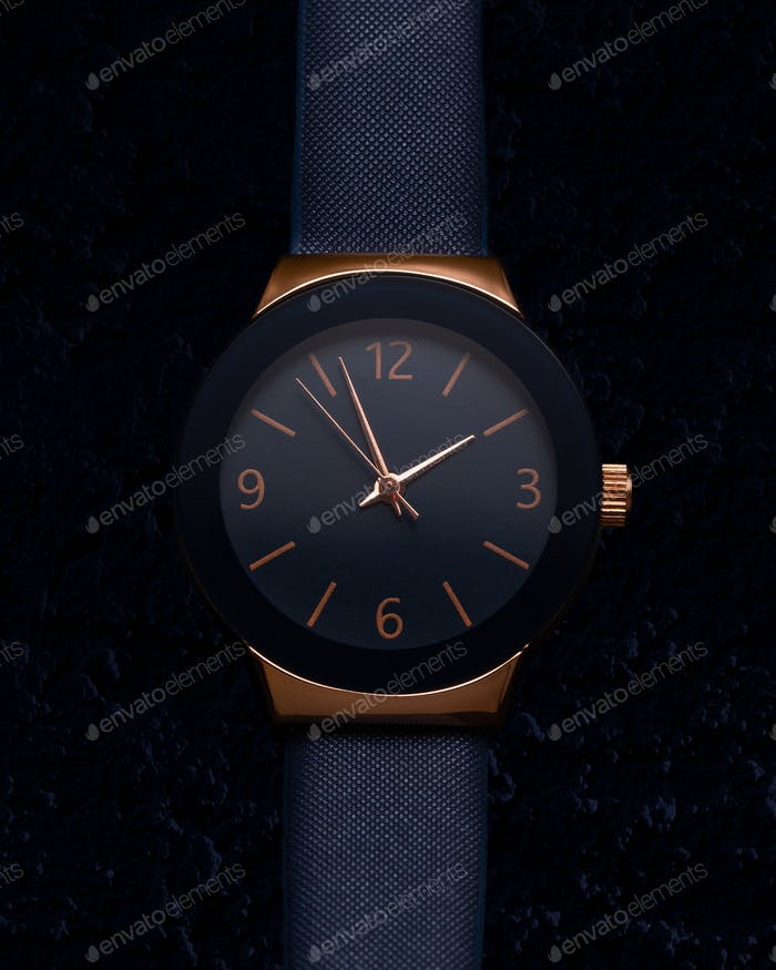 Woman watch, gold and blue color