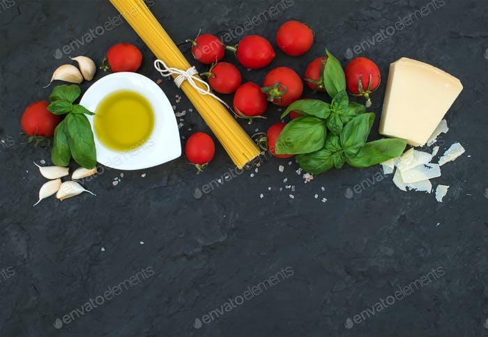 Spaghetti, olive oil, garlic, Parmesan cheese, tomatoes and fresh basil