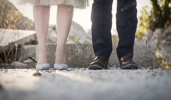Shoes of a man and a woman