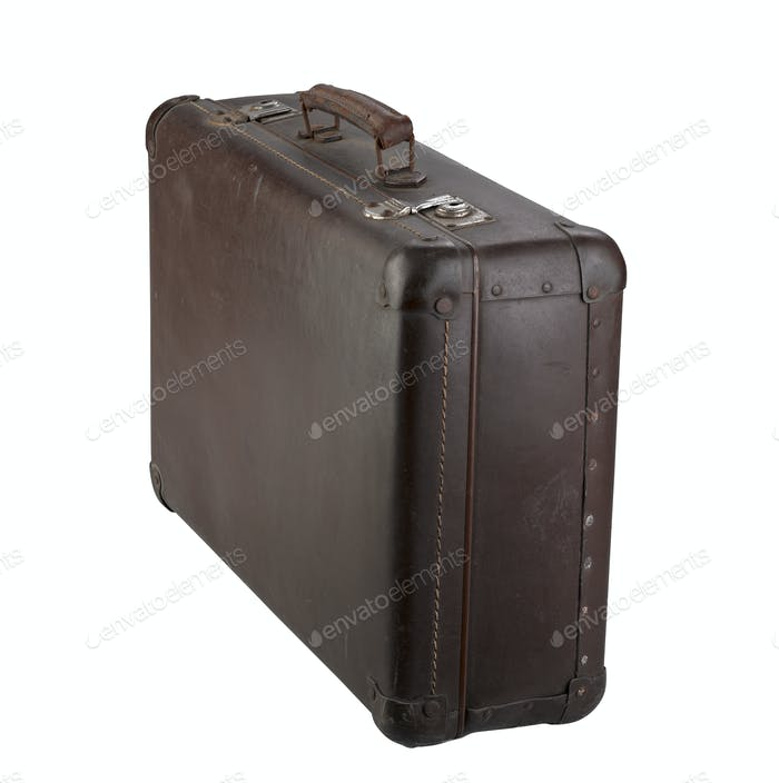 Old brown suitcase isolated on white
