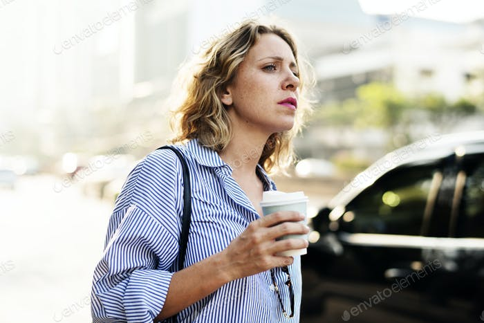 Woman on the wait for cab